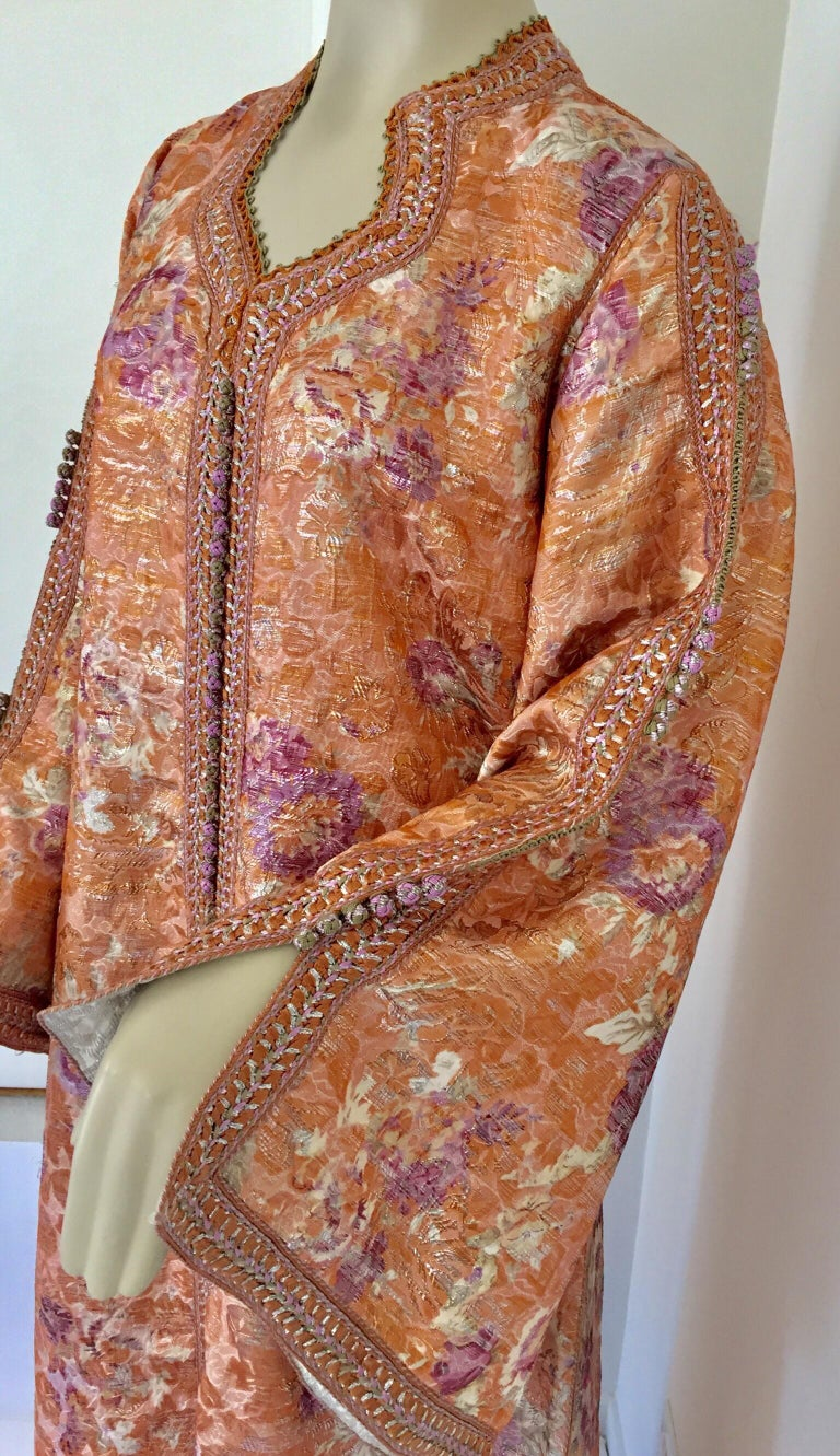 Moroccan Kaftan Orange and Purple Floral with Gold Embroidered Maxi Dress Caftan For Sale 1