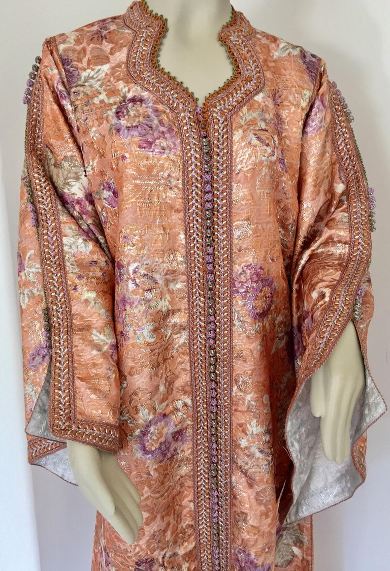 Moroccan Kaftan Orange and Purple Floral with Gold Embroidered Maxi Dress Caftan For Sale 2