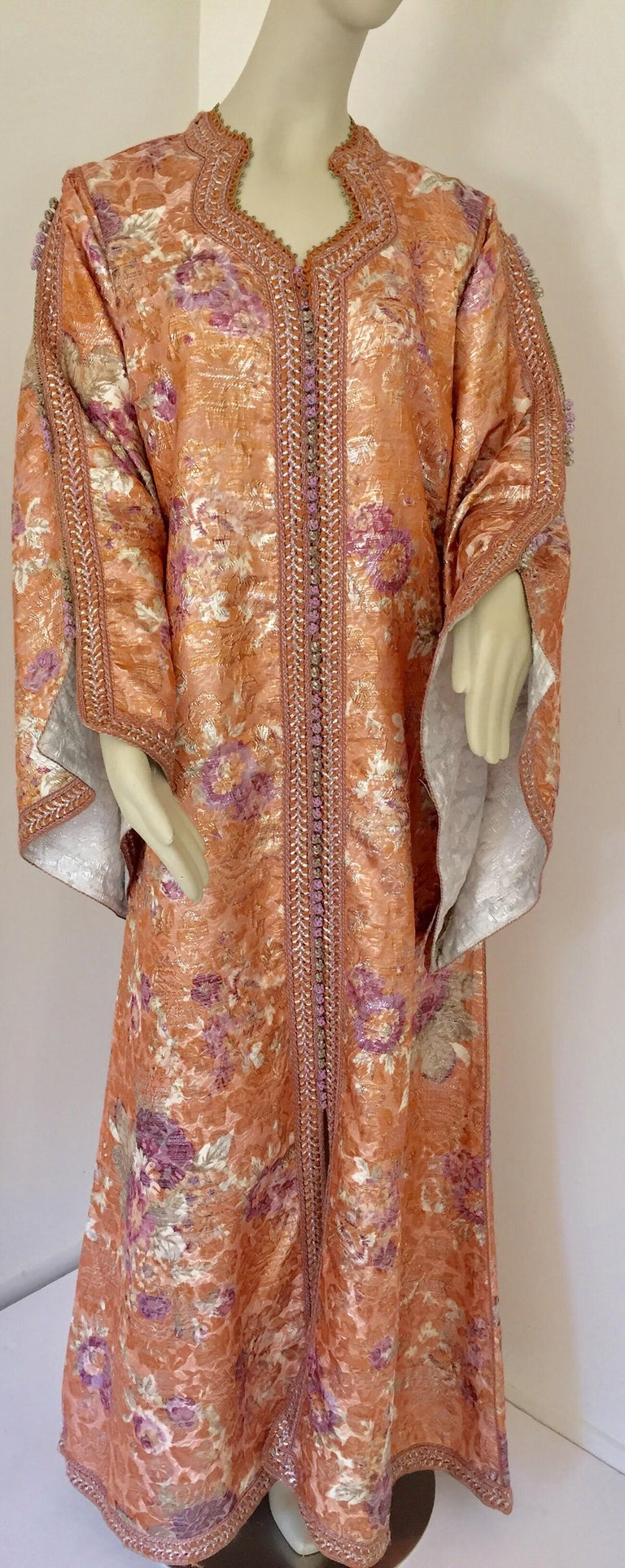 Moroccan Kaftan Orange and Purple Floral with Gold Embroidered Maxi Dress Caftan For Sale 3