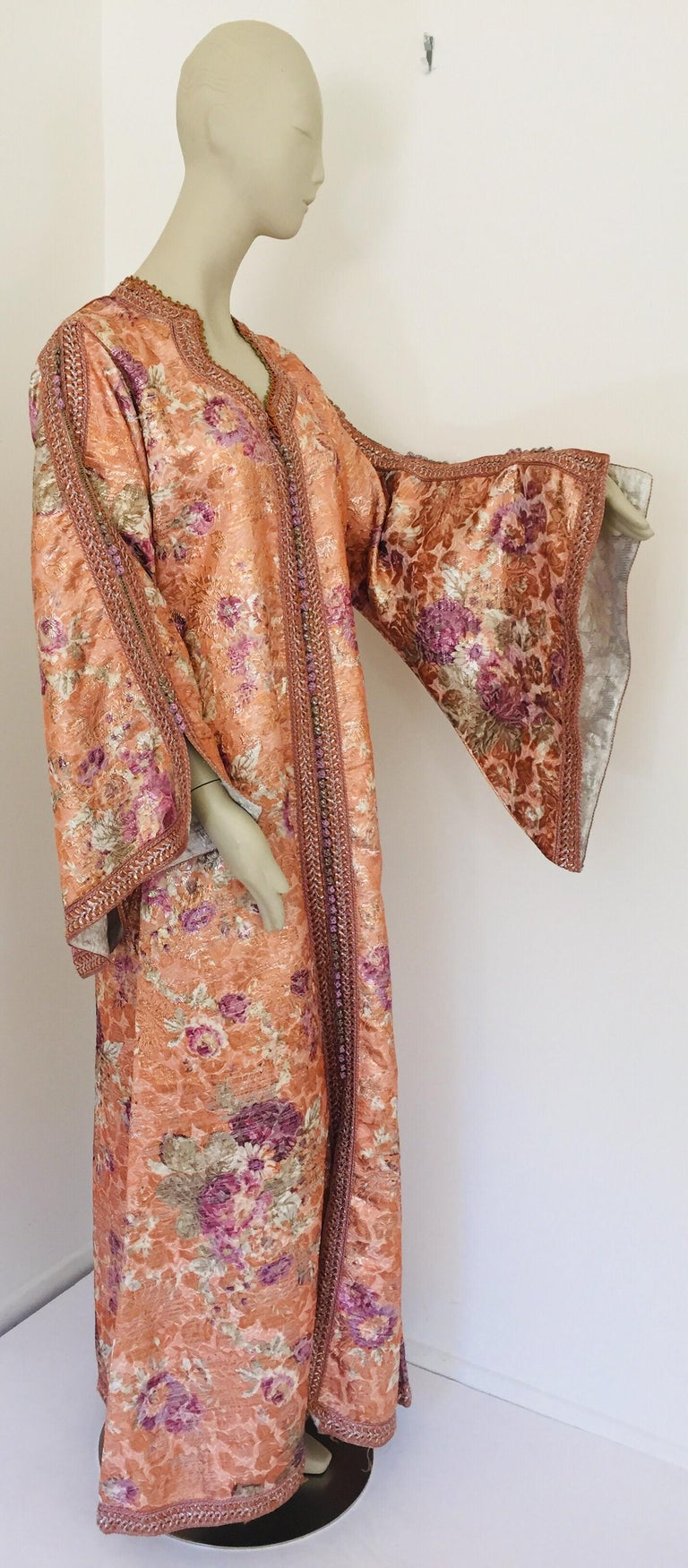 Elegant vintage designer Moroccan kaftan, purple and burnt orange floral brocade embroidered with gold. This chic Gypsy Bohemian maxi dress kaftan is embroidered and embellished with gold and orange metallic thread. with hand done embroidery work
