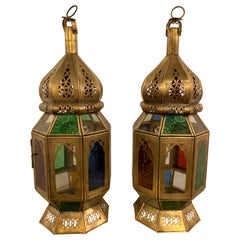 Moroccan Lanterns in Brass with Multicolored Glass, a Pair
