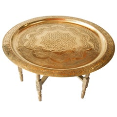 Moroccan Large Brass Tray Table on Folding Stand