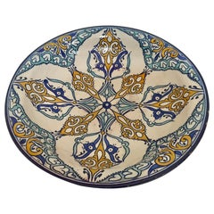 Moroccan Large Ceramic Plate Bowl from Fez