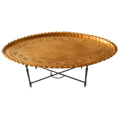 Moroccan Large Oval Brass Tray Table