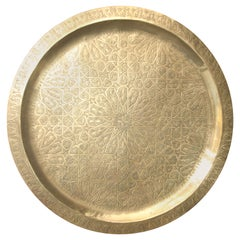 Moroccan Large Polished Brass Tray Platter