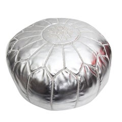 Moroccan Leather Hand Stitched Silver Pouf or Ottoman