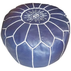 Moroccan Leather Pouf or Ottoman, Navy Blue