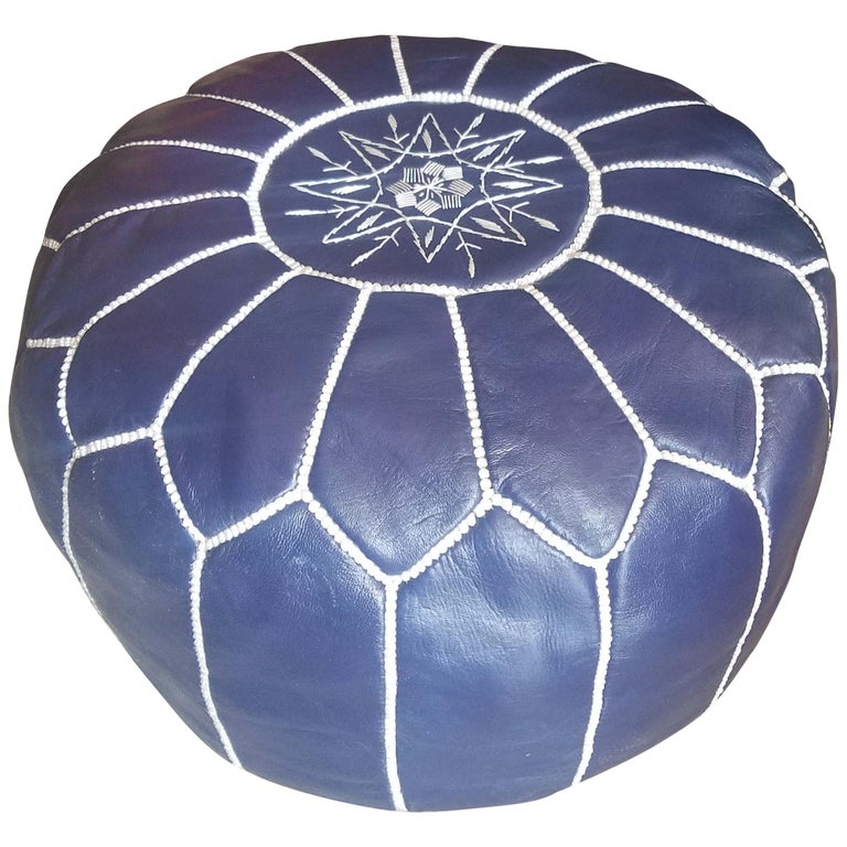 Moroccan Leather Pouf Or Ottoman Navy Blue For Sale At