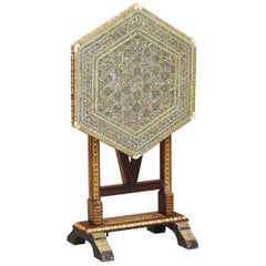 Moroccan Liberty's London Moorish Mother of Pearl Folding Tea Table, circa 1880