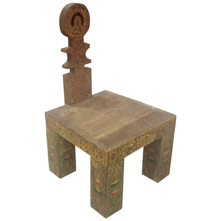 Moroccan Low Cedar Wood Chair For Sale At 1stdibs