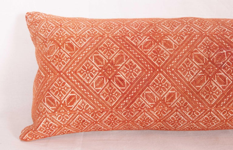 Suzani Moroccan Lumbar Pillow Case Fashioned from a Fez Embroidery, Early 20th Century For Sale