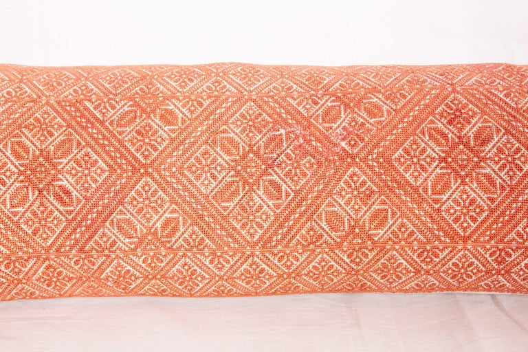 Embroidered Moroccan Lumbar Pillow Case Fashioned from a Fez Embroidery, Early 20th Century For Sale