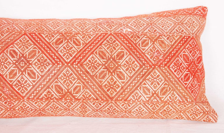 Moroccan Lumbar Pillow Case Fashioned from a Fez Embroidery, Early 20th Century In Good Condition For Sale In Istanbul, TR
