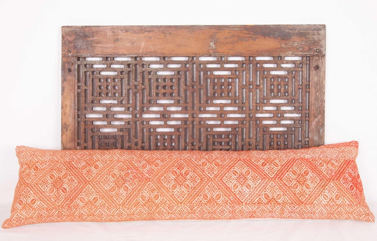 Moroccan Lumbar Pillow Case Fashioned from a Fez Embroidery, Early 20th Century For Sale 1