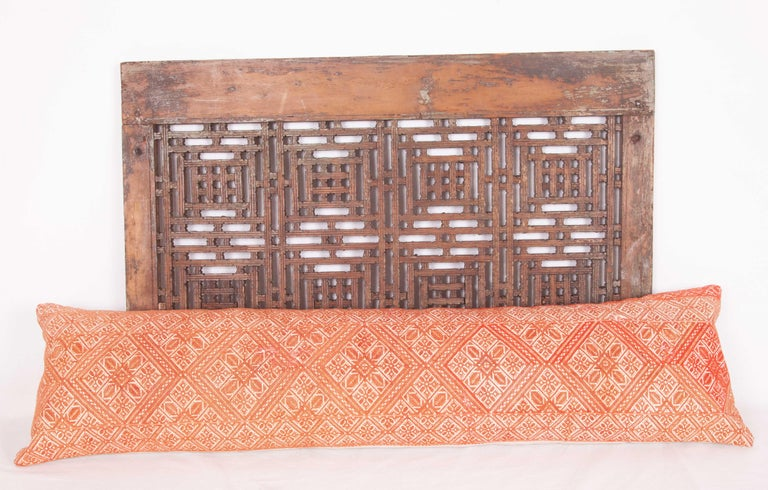 Moroccan Lumbar Pillow Case Fashioned from a Fez Embroidery, Early 20th Century For Sale 2