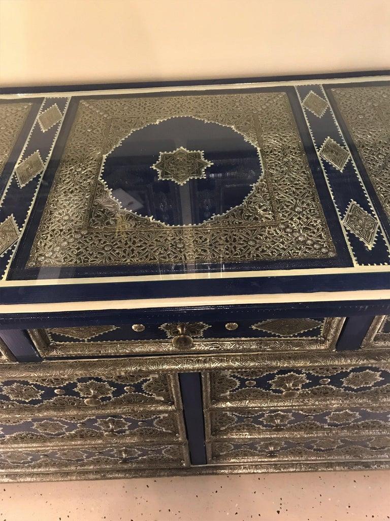 Brass Hollywood Regency Inlaid Blue Large Sideboard, Commode or Dresser For Sale