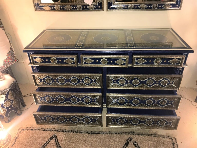 Hollywood Regency Inlaid Blue Large Sideboard, Commode or Dresser For Sale 1