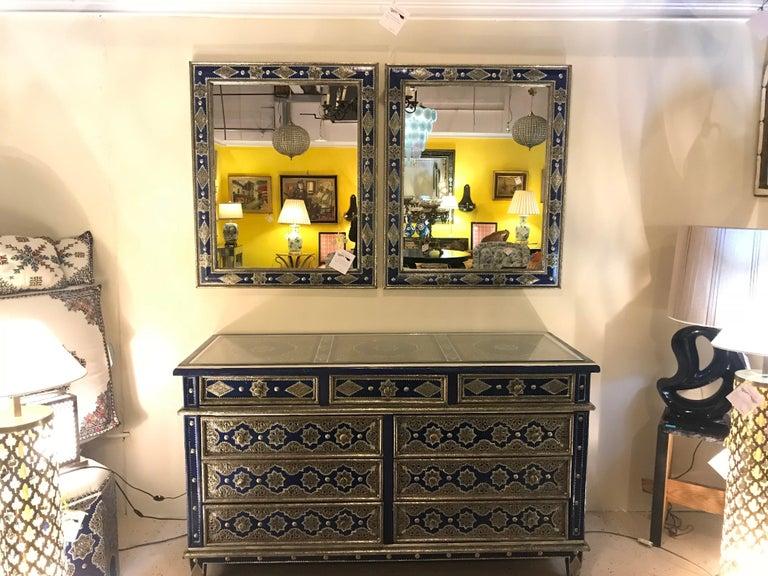 Hollywood Regency Inlaid Blue Large Sideboard, Commode or Dresser For Sale 2