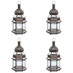 Moroccan Metal and Clear Glass Sevilla Lanterns, Set of Four
