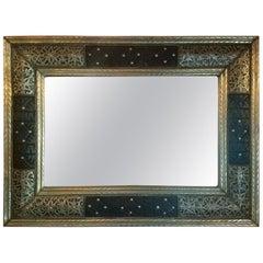Moroccan Metal Inlaid Mirror, Rectangular