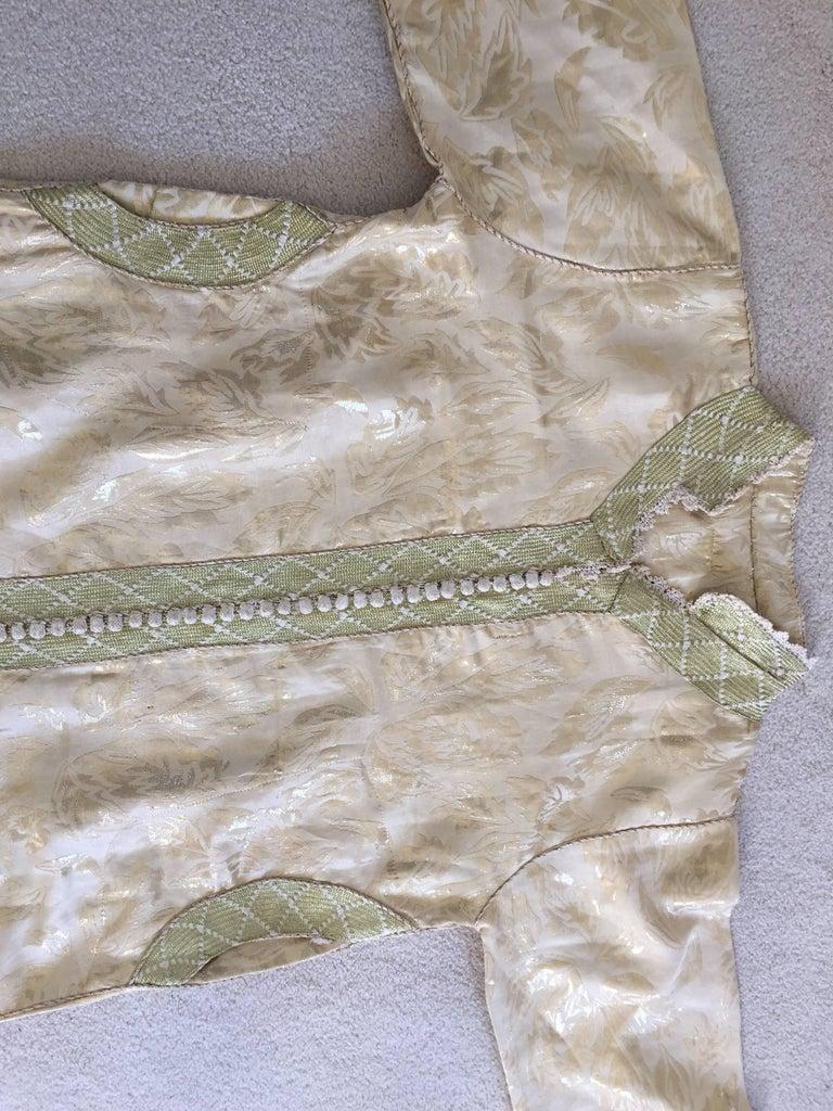 Moroccan Metallic Gold Brocade Kaftan, Maxi Dress Kaftan from Morocco, Africa For Sale 4