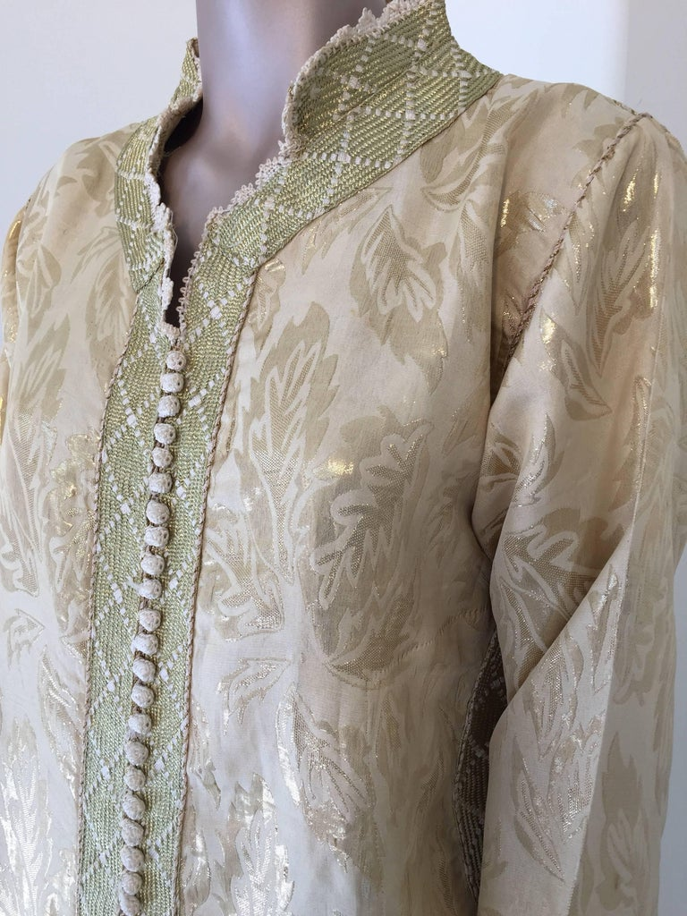 Hand-Crafted Moroccan Metallic Gold Brocade Kaftan, Maxi Dress Kaftan from Morocco, Africa For Sale