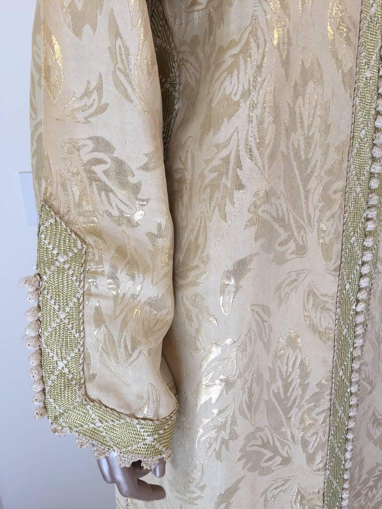 20th Century Moroccan Metallic Gold Brocade Kaftan, Maxi Dress Kaftan from Morocco, Africa For Sale