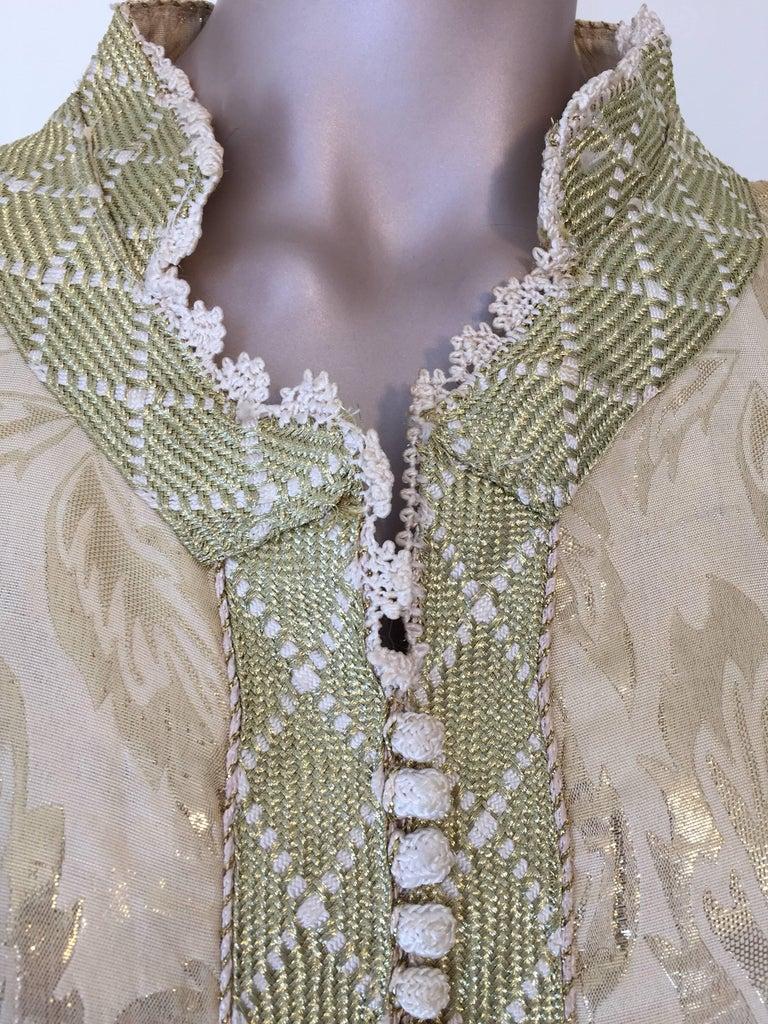 Moroccan Metallic Gold Brocade Kaftan, Maxi Dress Kaftan from Morocco, Africa For Sale 1