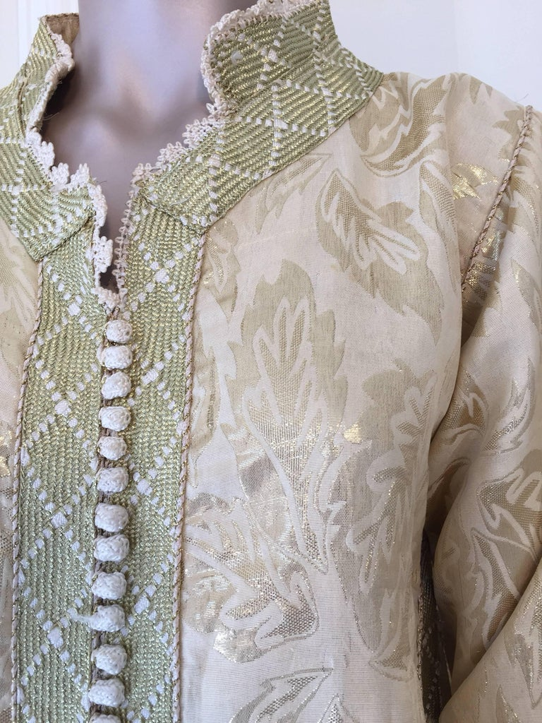 Moroccan Metallic Gold Brocade Kaftan, Maxi Dress Kaftan from Morocco, Africa For Sale 2