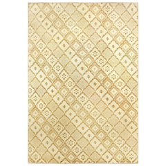 Moroccan Midcentury Yellow, Beige and Brown Hand Knotted Wool Rug