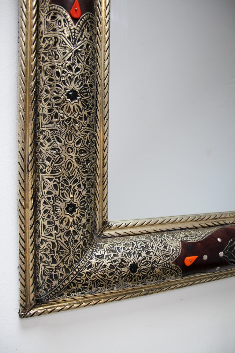 Moroccan Mirror Silvered Metal and Leather Wrapped For Sale 6
