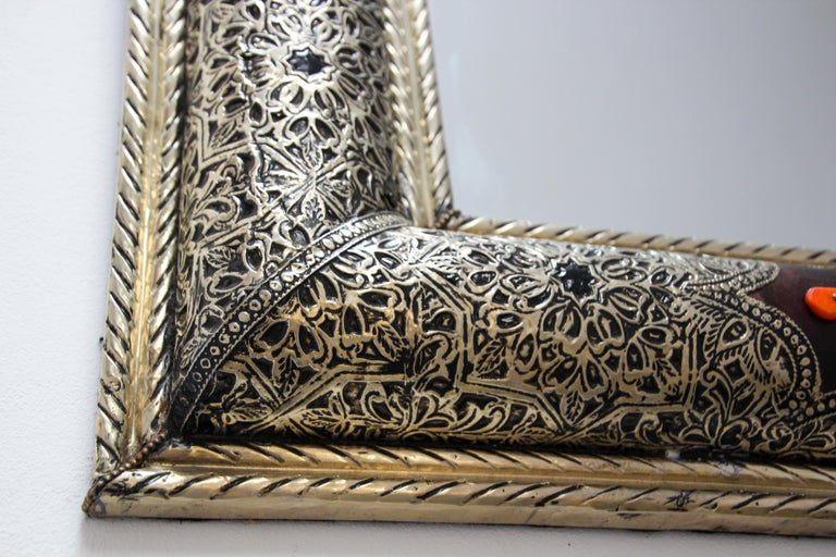 Moroccan Mirror Silvered Metal and Leather Wrapped For Sale 9