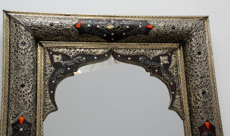 Moroccan Mirror Silvered Metal and Leather Wrapped For Sale 10