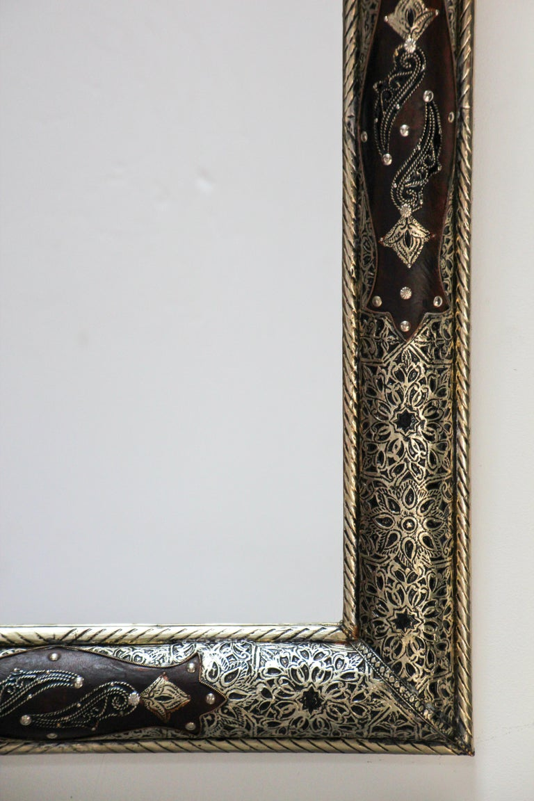 Moroccan Mirror with Silver Filigree and Repousse Metal For Sale 12