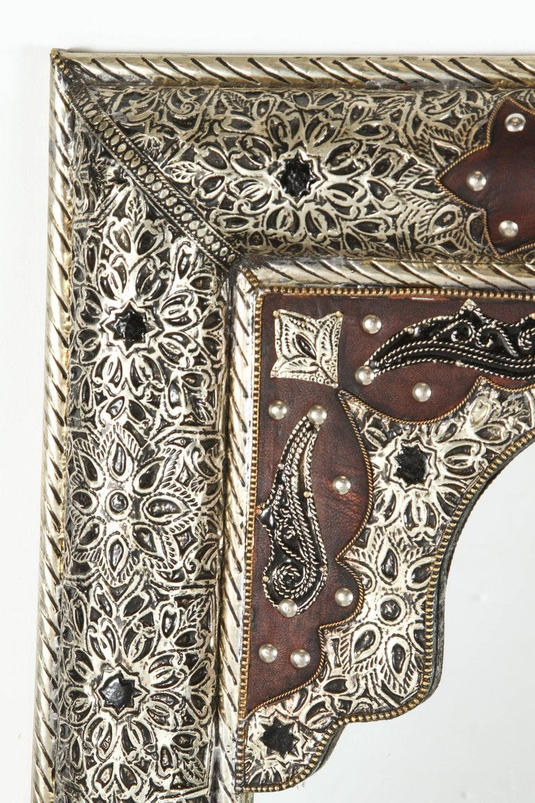 Hand-Carved Moroccan Mirror with Silver Filigree and Repousse Metal For Sale