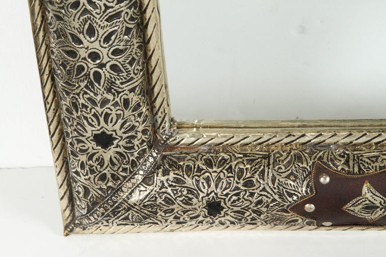Moroccan Mirror with Silver Filigree and Repousse Metal In Good Condition For Sale In North Hollywood, CA