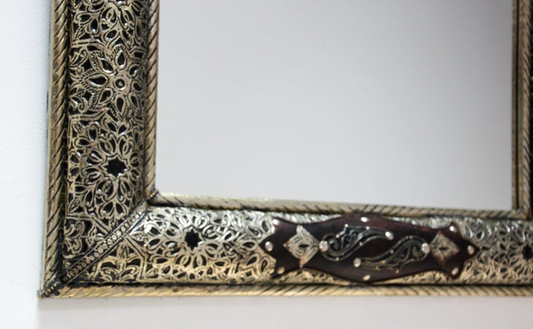 Moroccan Mirror with Silver Filigree and Repousse Metal For Sale 2