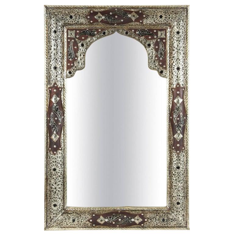 Moroccan Mirror with Silver Filigree
