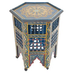 Moroccan Moorish Blue Hand Painted Side Table