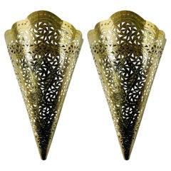 Moroccan Moorish Brass Cone Shaped Wall Sconce Shade, a Pair