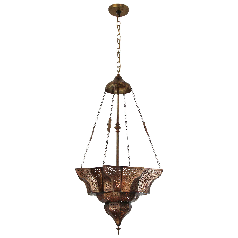 Moroccan Moorish Brass Star Pierced Hanging Chandelier