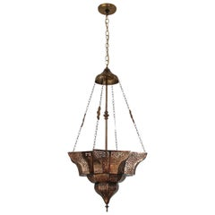 Moroccan Moorish Brass Star Pierced Hanging Chandelier