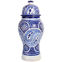 Moroccan Moorish Ceramic Blue Urn from Fez