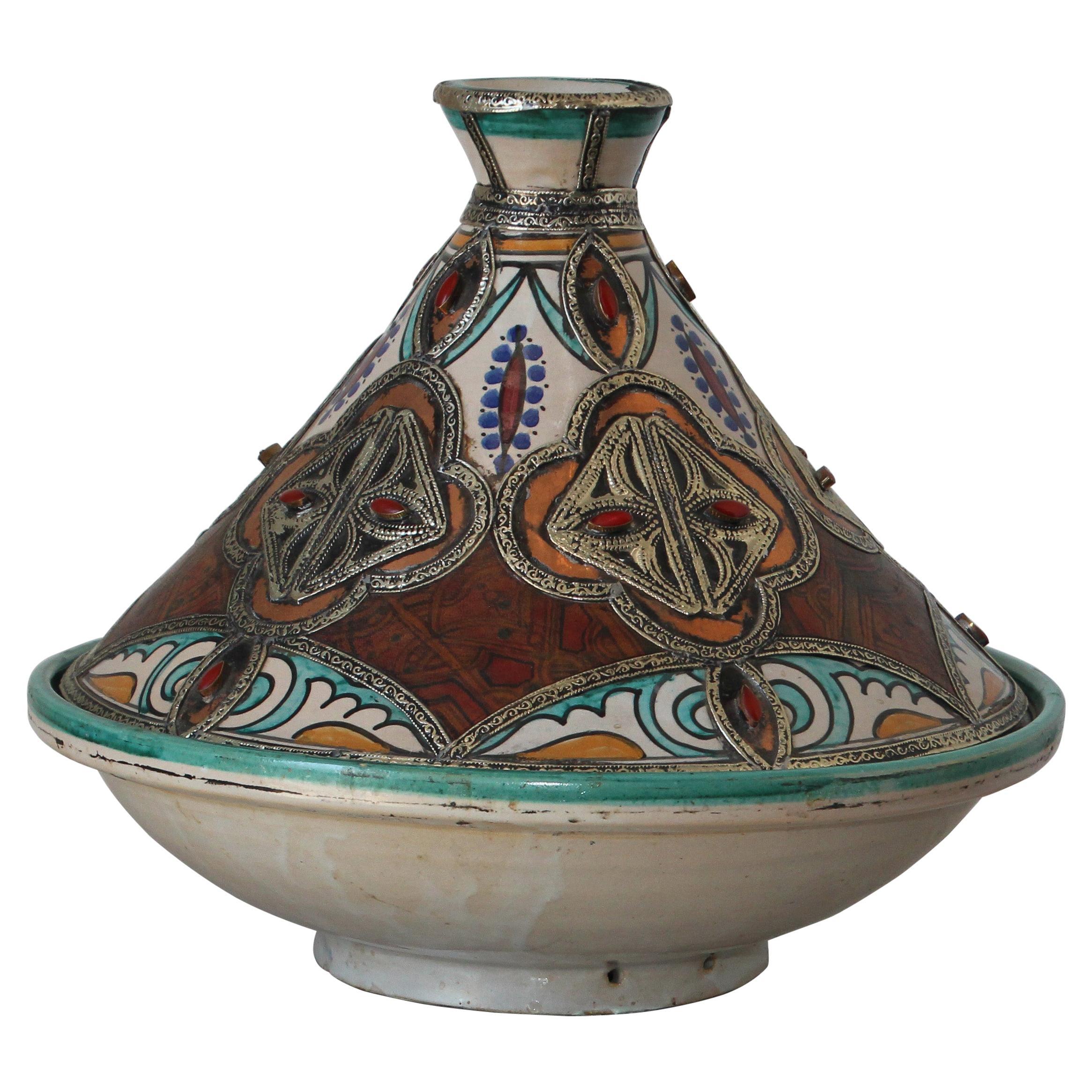 Moroccan Moorish Ceramic Bowl with Lid, Tajine from Fez