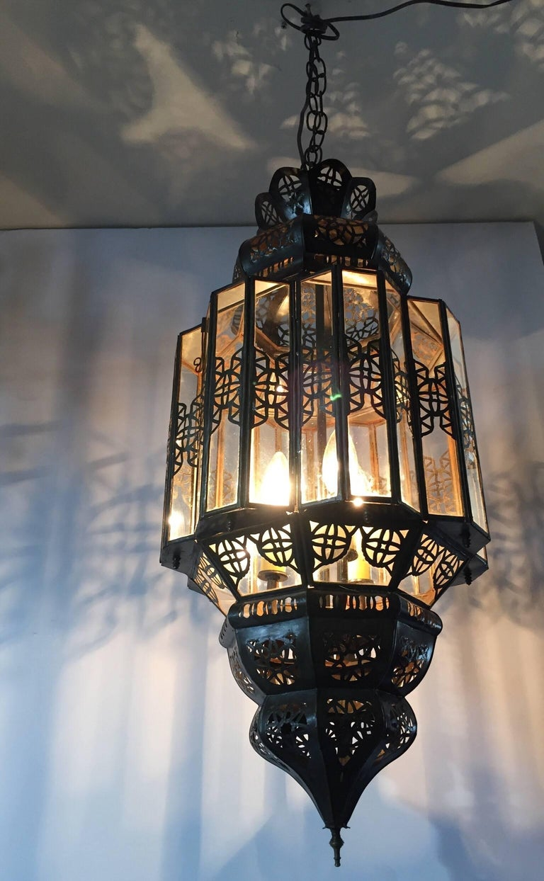 Moroccan Moorish Clear Glass Lantern For Sale 5