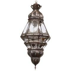 Moroccan Moorish Filigree Metal and Clear Glass Lantern