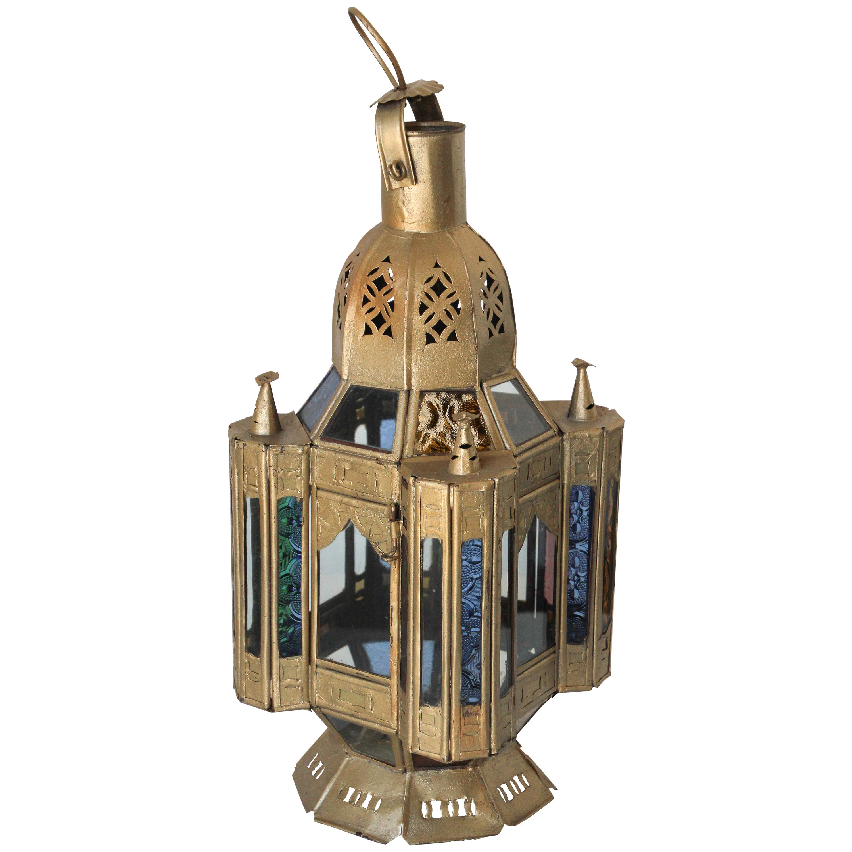 Moroccan Moorish Gilt Metal and Glass Candle Lantern