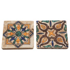 Moroccan Moorish Hand Painted Crackle Glazed Ceramic Tiles