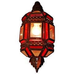 Moroccan Moorish Handmade Metal Ceiling Pendant Lantern in Red and White Glass