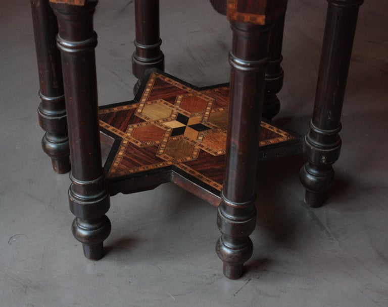 Moroccan Moorish Inlaid Hexagonal Table or Stand For Sale 4